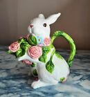 Easter Bunny Rabbit Spring Floral Ceramic Teapot with Lid