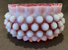 Fenton Hobnail Cranberry Opalescent Candy Bowl Ruffled 4 1 4 Dia
