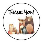THANK YOU WOODLAND ANIMALS STICKER LABEL ENVELOPE SEAL PARTY 12 OR 15 ROUND