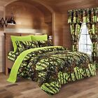 18 PC LIME YELLOW CAMO KING SET COMFORTER SHEETS THROW BLANKET CURTAINS