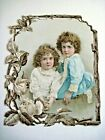 Lovely Vintage Die Cut of Two Young Girls with Curly Blonde Hair In Rose Frame