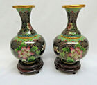 Pair Chinese Cloisonne Vases w Stands Included 5