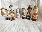 Nativity Christmas set 6 ADORABLE ceramic children figurines SHIPPING INCLUDED