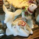 FENTON ART GLASS SATAN IVORY DEER PAINTED WITH RED BERRIES GORGEOUS EXCELLENT
