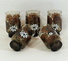 5 Libbey Mid Century Mod Brown Drink Glass Tumbler Stackable Flower Power Daisy