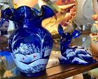 FENTON COBALT BLUE VASE WINTER SCENE RED CARDINALS 100th ANNIVERSARY GORGEOUS