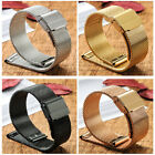 14mm-22mm Mesh Watch Band Stainless Steel Hang Buckle Clasp Watch Strap Silver