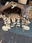 NATIVITY SCENE SET From 70s WITH WOOD STABLE All handpainted