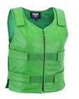 Green Color Women Bullet Proof style Leather Motorcycle Vest for SOA bikers Club