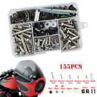 Motorcycle Shell Fairing Bolt Plate Screws Nut 155pcs Stainless Steel Thread Set