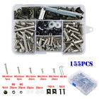 155Pcs Motorcycle Shell Fairing Bolt Plate Screws Nut Kit Stainless Steel Thread