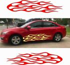 2x Hot Flames Car Graphics Vinyl Decal Large Size Pair Fire New Racing Style Big