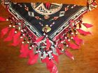 Indian Native style bandanna head face wrap beads beaded Full Color
