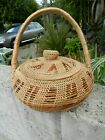 VINTAGEEskimo Vintage Native hand woven round basketOPEN WEAVE WITH LID
