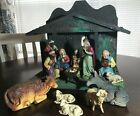 Vtg W Germany Nativity set Stable Jesus Mary Joseph Wise Men Animals 13 pcs