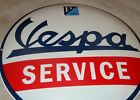 VINTAGE VESPA MOTOR SCOOTER SERVICE 12 PORCELAIN METAL GASOLINE OIL DEALER SIGN