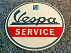 VINTAGE VESPA MOTOR SCOOTER SERVICE PORCELAIN METAL GASOLINE OIL DEALER SIGN