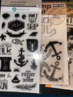 Lot Of 3 Clear Stamps With Die Boat Ocean Theme