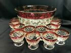 Vintage Indiana Glass Ruby Whitehall Punch Bowl  12 Footed Cups Excellent