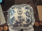 Blue and White Porcelain Covered dish wood and Sons