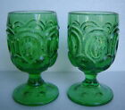 VINTAGE PAIR of 2 MOON  STARS GREEN GLASS WATER GOBLETS L G WRIGHT L E SMITH