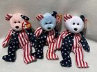 3- TY Beanie Baby Spangle Bear Red White & Blue Faces PE Pellets June 14, 1999