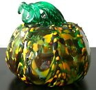 Art Glass Murano Style Pumpkin Autumn Fall Harvest Decor Green Orange Hand Blown