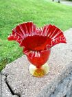 Mid Century Blenko Crackle Glass Amberina Footed Crimped 8 Vase