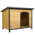 43 Outdoor Slant Roofed Wood Large Dog Pet House Kennel w Open Entrance