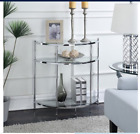 Modern Glass Shelves Entry Console Sofa Table Display Chrome Tier Silver Accent
