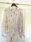 Equipment Femme Cream Floral Pleated Top Sz Med Blue Yellow Red Green NWT