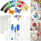 Embroidery Stitching Punch Needle Kit Craft Tool 50 Color Threads for DIY Sewing