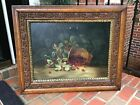 1888 Raspberries in Basket Signed Oil Painting Gorgeous Wood Carved Frame