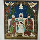 Melissa Shirley Nativity Needlepoint Canvas Hand Painted 16x18 Large Vintage 90s
