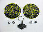 Harley Davidson Key Chain Willie G Valve Cap Combo W 2 Gold LIVE TO RIDE Emblems