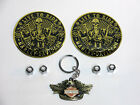 Harley Eagle Key Chain Willie G Valve Cap Combo W 2 Gold LIVE TO RIDE Emblems