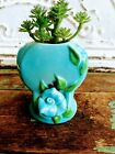 Vintage Turquoise Blue Heart  Flower Small Pottery Vase