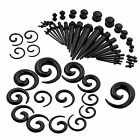 54 Ear Gauge Stretching Kit Acrylic Spiral Tapers and Plugs Set Eyelet 14G 00G
