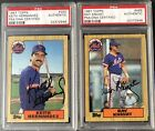 1987 TOPPS METS LOT 2 KEITH HERNANDEZ & RAY KNIGHT '86 CHAMPIONS PSA AUTOGRAPHS