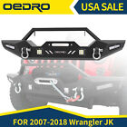 OEDRO Front Bumper Combo w LED Lights Fit for 2007 2018 Jeep Wrangler JK