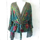 New Angie Top 3X Teal Green Asian Floral Print Tie Waist Kimono Sleeve Plus Size