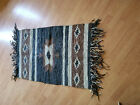 Hand woven Native American Pattern Leather Rug with Long Fringe