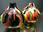 PAIR Hand Blown Art Glass Vases Black Yellow Red Retro 60s Color Abstract