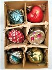6 Small Glass Feather Tree Ornaments Germany Box
