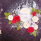 Handmade SMILE Roses  Leaves Prima Marketing 12x12Premade Scrapbook Layout Page