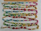 Vintage Glass Bead Garland Multi Colors Fancy Shapes Indents Facets 11+ Ft