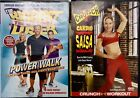 New Lot 2 DVDs CRUNCH WORKOUT CARDIO SALSA  BIGGEST LOSER Power Walk Workout