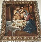 American Weavers Christmas Afghan Tapestry Blanket Throw Nativity Scene Jesus