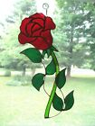 Handmade Stained Glass Flower ROSE Red SUNCATCHER R092