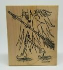 Witch Legs Broomstick Northwoods wood rubber stamp Halloween boots walking